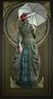 Green Belle Epoque Gown, 3d CG