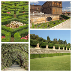 collage with images of florentine monumental Boboli Gardens