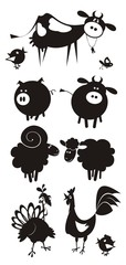 Farm animals. Flat design. Vector illustration.