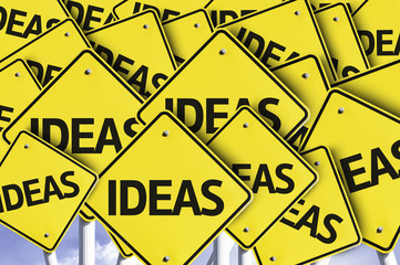 Ideas written on multiple road sign