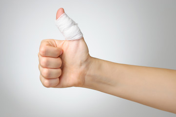 Injured finger with bandage