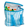 Open blue striped cooler bag with full of cool refreshing drinks - 68000852