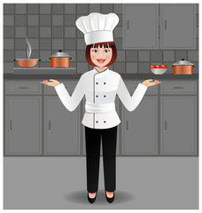 Young woman chef in her kitchen
