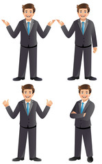 Young businessman in various poses