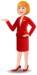 Attractive blonde air hostess in red uniform