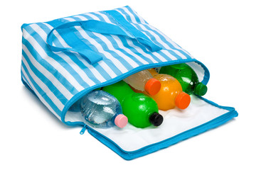 Open blue striped cooler bag with five cool refreshing drinks