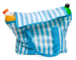 Closed blue striped cooler bag with full of cool refreshing drin