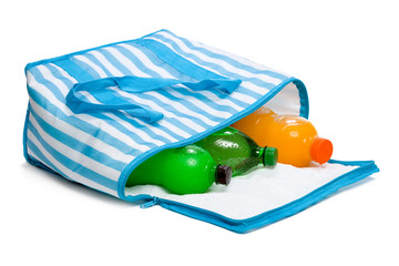 Open blue striped cooler bag with three cool refreshing drinks