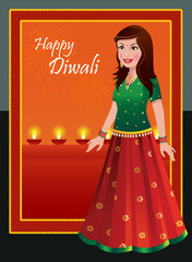 Happy Diwali - Indian woman in traditional outfit