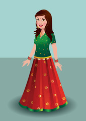Indian woman in traditional Indian dress - ghagra