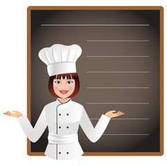 Young woman chef with a blank blackboard