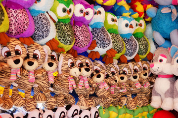 Wall of stuffed toys