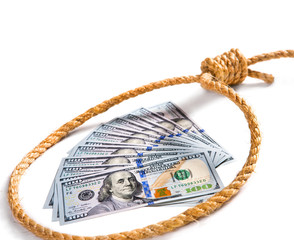 Money fan in a noose