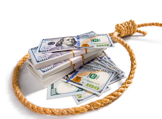 Stacks of money in a noose
