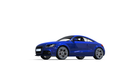 Modern dark blue car on white background