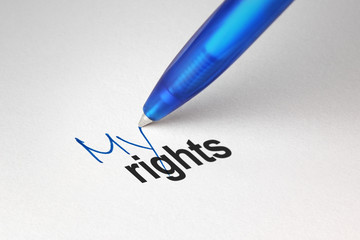 My rights, written on white paper