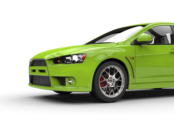 Bright green race car front side