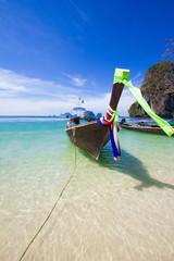 Bateau sur la plage de Railay en Thailande