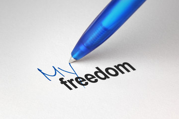 My freedom, written on white paper