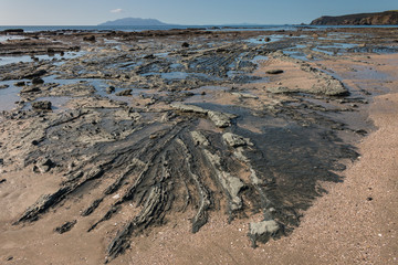 volcanic rock formations on beach at Omaha Bay, New Zealand