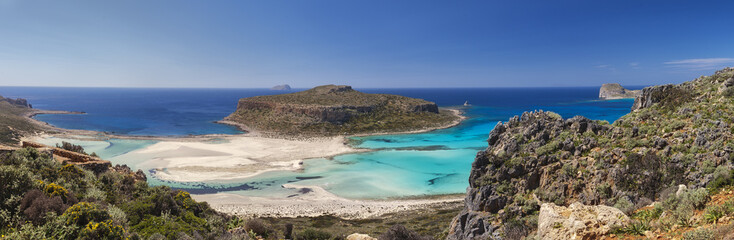 Tropical panoramic image of a beautiful beach in the Balos bay