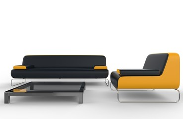 Black and yellow furniture