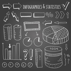 Hand drawn infographic and statistics elements