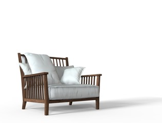 White cozy armchair front perspective shot