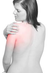 Frau mit Schulter Gelenkschmerzen