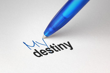 My destiny, written on white paper