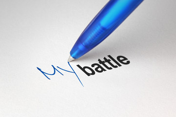 My battle, written on white paper