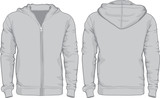 Men's hoodie shirts template. Front and back views