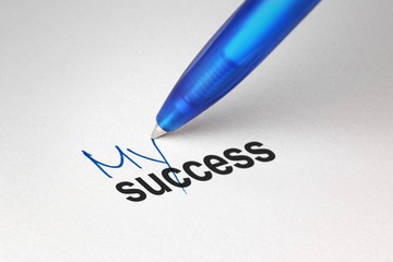 My success, written on white paper