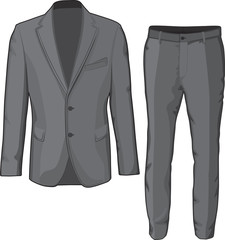 Male clothing suit coat and pants. Vector