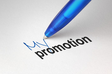 My promotion, written on white paper