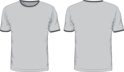 Men's t-shirts template. Front and back views
