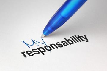 My responsability, written on white paper
