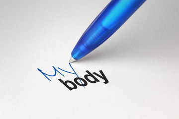 My body, written on white paper