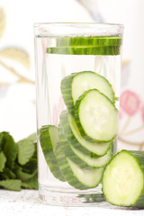 cucumber in glass of water