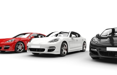 Set of modern fast cars - focused on white car