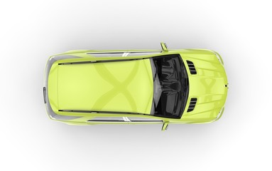 Bright green utility vehicle top view