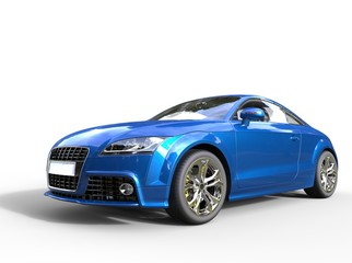 Blue fast car on white background