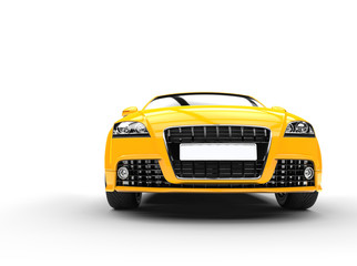 Fast car, bright yellow, on white background