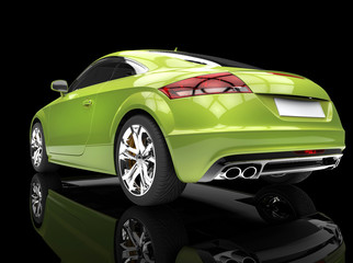 Fast car, bright green, on black reflective background