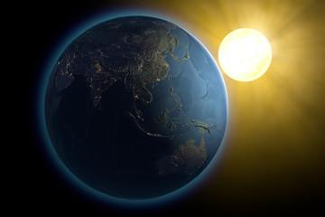 Mondo terra Asia sole spazio