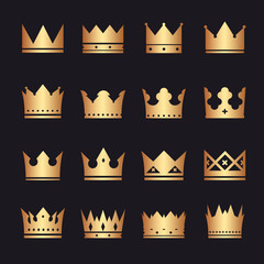 vector gold set of crowns