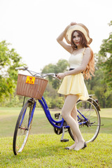 Asian woman and bicycle