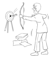 Cartoon illustration of a businessman shooting a target with bow