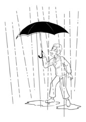 Cartoon of a businessman with umbrella standing in the rain