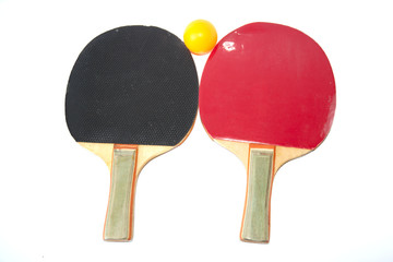 Table tennis racket with ball